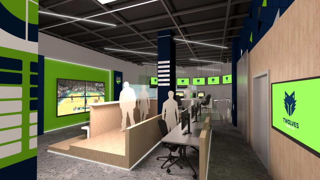 T-Wolves Gaming NBA 2k Training Center Interior Rendering