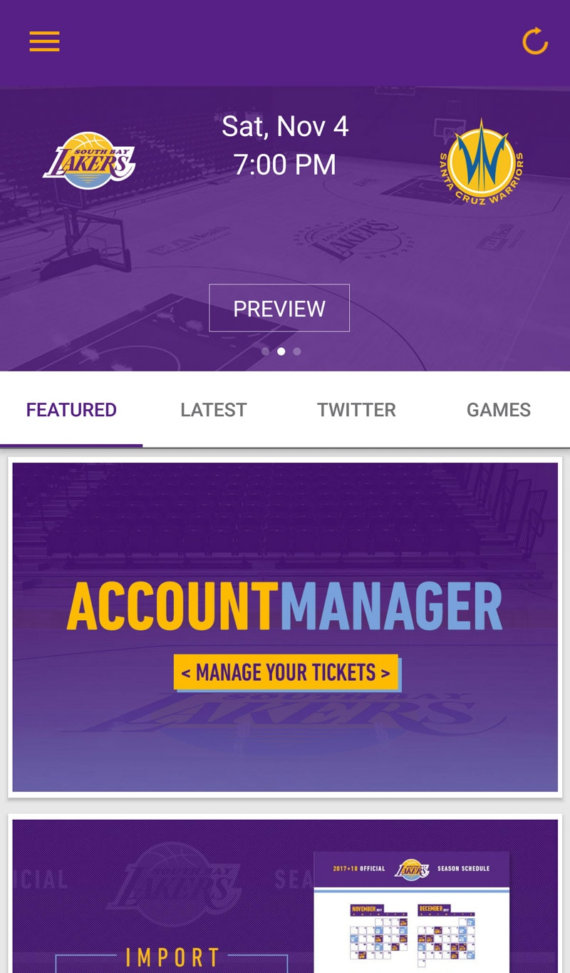 South Bay Lakers Mobile App