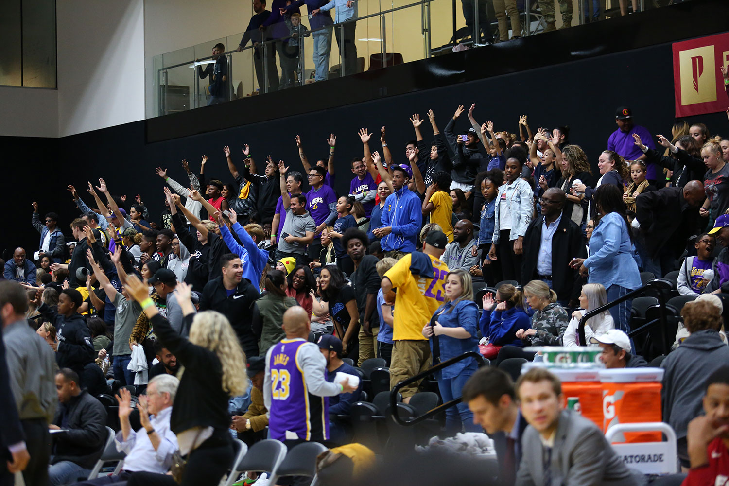 Fan cheering at South Bay Lakers Military Appreciation Night