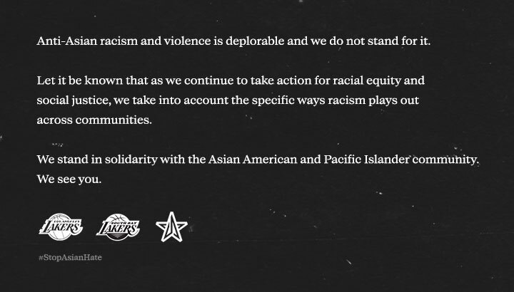 South Bay Lakers Statement on Stop AAPI Hate