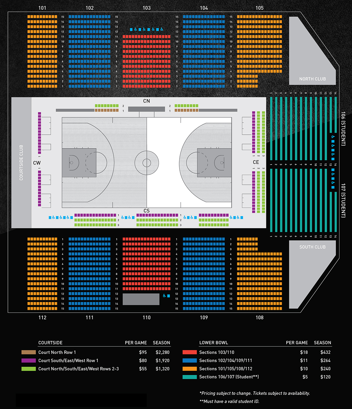 Seating and Pricing chart