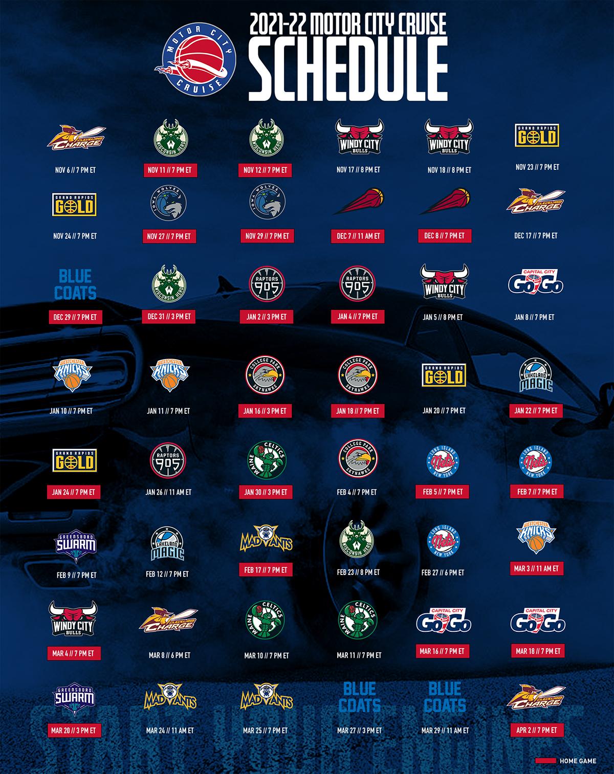 A graphic representing the 21-22 Motor City Cruise Regular Season Schedule