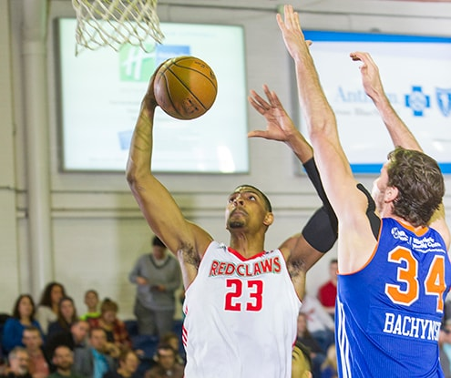 PORTLAND, ME - DECEMBER 12: The Maine Red Claws host the Westchester Knicks on December 12, 2015 at the Portland Expo in Portland, Maine. NOTE TO USER: User expressly acknowledges and agrees that, by downloading and/or using this photograph, user is consenting to the terms and conditions of the Getty Images License Agreement.  Mandatory Copyright Notice: Copyright 2015 NBAE (Photo by Rich Obrey/NBAE via Getty Images)