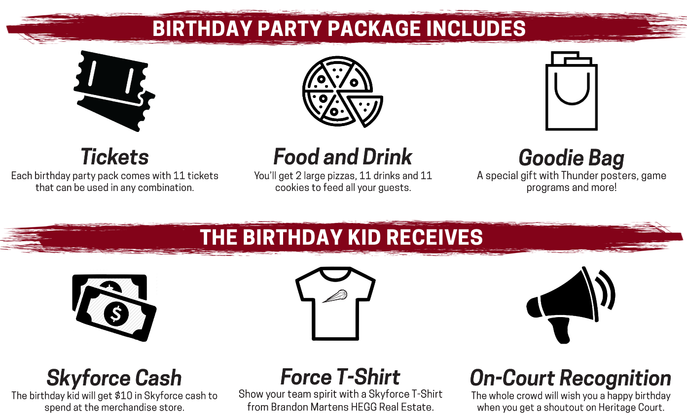 Each birthday party package includes 11 tickets, pizza, drinks, cookies and a goodie bag for the birthday kid.