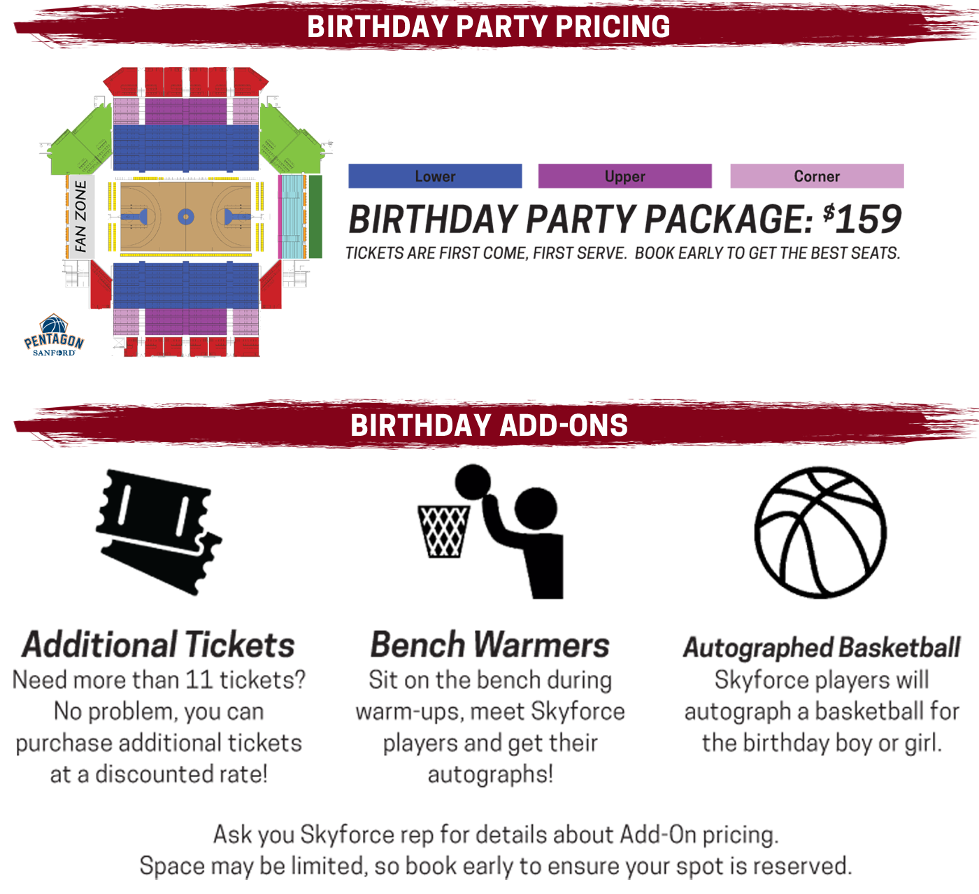 Birthday Party Packs start at only $159 for 11 people. Pick on of our Add-Ons to bring your party to the next level.