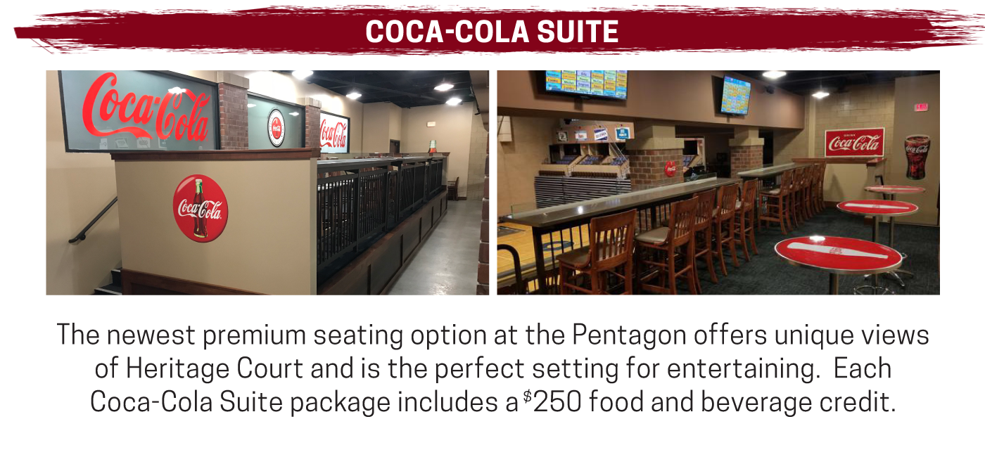 Unique seating in an enclosed suite make the Coca-cola suite desirable for every fan