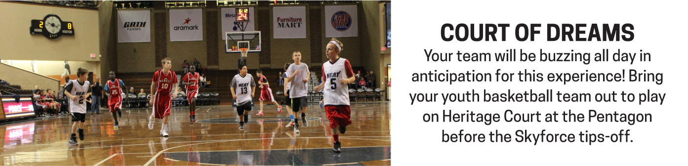 Your youth basketball team can play on Heritage Court as part of the ultimate game-day experience.