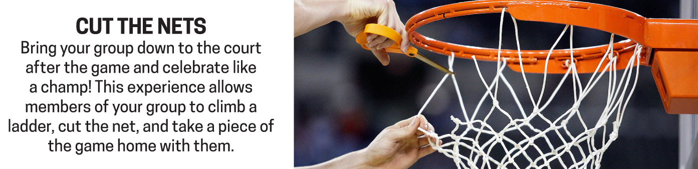 Celebrate your team's championship by cutting down the nets like a March Madness hero.