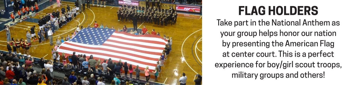 Take center stage with the American flag unfurled in all her beauty during the National Anthem.