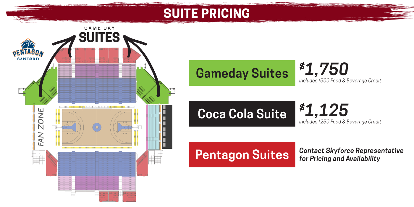 Suite pricing for the Skyforce in 2019-20