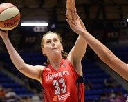 SAN ANTONIO - JULY 31:  Emma Meesseman #33 of the Washington Mystics shoots the ball against the San Antonio Stars in the WNBA game on July 31, 2015 at the Freeman Coliseum in San Antonio, Texas. NOTE TO USER: User expressly acknowledges and agrees that, by downloading and or using this photograph, user is consenting to the terms and conditions of the Getty Images License Agreement. Mandatory Copyright Notice: Copyright 2015 NBAE (Photos by D. Clarke Evans/NBAE via Getty Images)