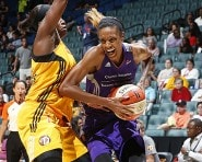 TULSA, OK - JULY 30:  DeWanna Bonner #24 of the Phoenix Mercury handles the ball against the Tulsa Shock on July 30, 2015 at the BOK Center in Tulsa, Oklahoma.  NOTE TO USER: User expressly acknowledges and agrees that, by downloading and or using this Photograph, user is consenting to the terms and conditions of the Getty Images License Agreement. Mandatory Copyright Notice: Copyright 2015 NBAE (Photo by Shane Bevel/NBAE via Getty Images)