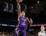 ROSEMONT, IL - JULY 31: Candace Parker #3 of the Los Angeles Sparks goes up for a shot against the Chicago Sky on July 31, 2015 at Allstate Arena in Rosemont, Illinois. NOTE TO USER: User expressly acknowledges and agrees that, by downloading and or using this Photograph, user is consenting to the terms and conditions of the Getty Images License Agreement. Mandatory Copyright Notice: Copyright 2015 NBAE (Photo by Gary Dineen/NBAE via Getty Images)
