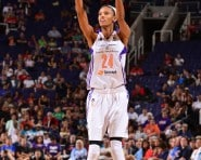 PHOENIX, AZ - AUGUST 4: DeWanna Bonner #24 of the Phoenix Mercury takes a shot against the Tulsa Shock on August 4, 2015 at US Airways Center in Phoenix, Arizona. NOTE TO USER: User expressly acknowledges and agrees that, by downloading and or using this Photograph, user is consenting to the terms and conditions of the Getty Images License Agreement. Mandatory Copyright Notice: Copyright 2015 NBAE (Photo by Barry Gossage/NBAE via Getty Images)