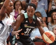 UNCASVILLE, CT - AUGUST 14: Tina Charles #31 of the New York Liberty handles the ball against Camille Little #2 of the Connecticut Sun at the Mohegan Sun Arena on August 14, 2015 in Uncasville, Connecticut. NOTE TO USER: User expressly acknowledges and agrees that, by downloading and/or using this Photograph, user is consenting to the terms and conditions of the Getty Images License Agreement. Mandatory Copyright Notice: Copyright 2015 NBAE (Photo by Brian Babineau/NBAE via Getty Images)