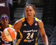 LOS ANGELES, CA - AUGUST 18: Tamika Catchings #24 of the Indiana Fever handles the ball against the Los Angeles Sparks on August 18, 2015 at STAPLES Center in Los Angeles, California.  NOTE TO USER: User expressly acknowledges and agrees that, by downloading and or using this photograph, User is consenting to the terms and conditions of the Getty Images License Agreement. Mandatory Copyright Notice: Copyright 2015 NBAE  (Photo by Juan Ocampo/NBAE via Getty Images)