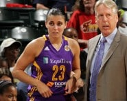 INDIANAPOLIS - AUGUST 26: Ana Dabovic #23 chats with head coach Brian Agler of the Los Angeles Sparks during a game against the Indiana Fever on August 26, 2015 in Indianapolis, Indiana.  NOTE TO USER: User expressly acknowledges and agrees that, by downloading and or using this Photograph, user is consenting to the terms and condition of the Getty Images License Agreement. Mandatory Copyright Notice: 2015 NBAE  (Photo by Ron Hoskins/NBAE via Getty Images)