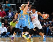 ATLANTA, GA - AUGUST 29: Angel McCoughtry #35 of the Atlanta Dream handles the ball against Courtney Vandersloot #22 of the Chicago Sky on August 29, 2015 at Philips Arena in Atlanta, Georgia.  NOTE TO USER: User expressly acknowledges and agrees that, by downloading and/or using this Photograph, user is consenting to the terms and conditions of the Getty Images License Agreement. Mandatory Copyright Notice: Copyright 2015 NBAE (Photo by Scott Cunningham/NBAE via Getty Images)