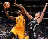 LOS ANGELES, CA - AUGUST 30: Jantel Lavender #42 of the Los Angeles Sparks shoots against Dearica Hamby #5 of the San Antonio Stars at STAPLES Center on August 30, 2015 in Los Angeles, California. NOTE TO USER: User expressly acknowledges and agrees that, by downloading and/or using this Photograph, user is consenting to the terms and conditions of the Getty Images License Agreement. Mandatory Copyright Notice: Copyright 2015 NBAE (Photo by Andrew D. Bernstein/NBAE via Getty Images)