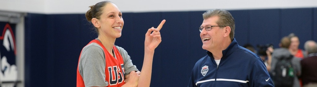 STORRS, CT - FEBRUARY 23: Diana Taurasi and Geno Auriemma of the USA Women's National Team share a laugh during training camp at the University of Connecticut in Storrs, Connecticut on February 23, 2016. NOTE TO USER: User expressly acknowledges and agrees that, by downloading and/or using this Photograph, user is consenting to the terms and conditions of the Getty Images License Agreement. Mandatory Copyright Notice: Copyright 2016 NBAE (Photo by Jennifer Pottheiser/NBAE/Getty Images)