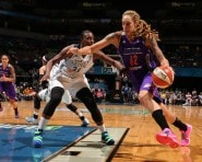 MINNEAPOLIS, MN - AUGUST 30: Brittney Griner #42 of the Phoenix Mercury drives to the basket against Sylvia Fowles #34 of the Minnesota Lynx on August 30, 2015 at Target Center in Minneapolis, Minnesota.  NOTE TO USER: User expressly acknowledges and agrees that, by downloading and or using this Photograph, user is consenting to the terms and conditions of the Getty Images License Agreement. Mandatory Copyright Notice: Copyright 2015 NBAE (Photo by Jordan Johnson/NBAE via Getty Images)
