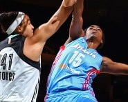 NEW YORK, NY - SEPTEMBER 1: Tiffany Hayes #15 of the Atlanta Dream goes for the lay up against Kiah Stokes #41 of the New York Liberty on September 1, 2015 at Madison Square Garden in New York, New York. NOTE TO USER: User expressly acknowledges and agrees that, by downloading and or using this photograph, User is consenting to the terms and conditions of the Getty Images License Agreement. Mandatory Copyright Notice: Copyright 2015 NBAE (Photo by Nathaniel S. Butler/NBAE via Getty Images)