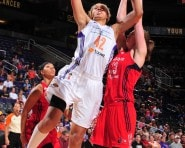 PHOENIX, AZ - SEPTEMBER 2: Brittney Griner #42 of the Phoenix Mercury shoots against Emma Meesseman #33 of the Washington Mystics on September 2, 2015 at the Talking Stick Resort Arena in Phoenix, Arizona. NOTE TO USER: User expressly acknowledges and agrees that, by downloading and or using this Photograph, user is consenting to the terms and conditions of the Getty Images License Agreement. Mandatory Copyright Notice: Copyright 2015 NBAE (Photo by Barry Gossage/NBAE via Getty Images)