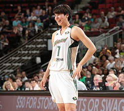 SEATTLE, WA - SEPTEMBER 11:  Ramu Tokashiki #7 of the Seattle Storm smiles during the game against the Minnesota Lynx on September 11, 2015 at Key Arena in Seattle, Washington. NOTE TO USER: User expressly acknowledges and agrees that, by downloading and/or using this Photograph, user is consenting to the terms and conditions of Getty Images License Agreement. Mandatory Copyright Notice: Copyright 2015 NBAE (Photo by Joshua Huston/NBAE via Getty Images)