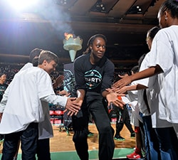 NEW YORK, NY - MAY 24: Tina Charles #31 of the New York Liberty gets introduced before the game against the Atlanta Dream on May 24, 2016 at Madison Square Garden in New York City, New York. NOTE TO USER: User expressly acknowledges and agrees that, by downloading and or using this photograph, User is consenting to the terms and conditions of the Getty Images License Agreement. Mandatory Copyright Notice: Copyright 2016 NBAE (Photo by Jesse D. Garrabrant/NBAE via Getty Images)