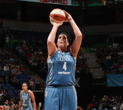 MINNEAPOLIS, MN - MAY 27:  Janel McCarville #4 of the Minnesota Lynx prepares to shoot a free throw against the Indiana Fever on May 27, 2016 at Target Center in Minneapolis, Minnesota. NOTE TO USER: User expressly acknowledges and agrees that, by downloading and or using this Photograph, user is consenting to the terms and conditions of the Getty Images License Agreement. Mandatory Copyright Notice: Copyright 2016 NBAE (Photo by Jordan Johnson/NBAE via Getty Images)