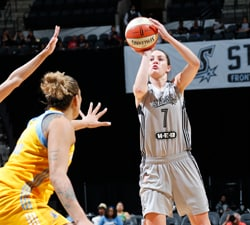 SAN ANTONIO, TX - MAY 27:  Haley Peters #7 of the San Antonio Stars shoots the ball against the Chicago Sky on May 27, 2016 at AT&T Center in San Antonio, Texas. NOTE TO USER: User expressly acknowledges and agrees that, by downloading and or using this Photograph, user is consenting to the terms and conditions of the Getty Images License Agreement. Mandatory Copyright Notice: Copyright 2016 NBAE (Photo by Chris Covatta/NBAE via Getty Images)