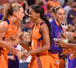PHOENIX, AZ - MAY 29:  The Phoenix Mercury celebrate after the game against the Washington Mystics on May 29, 2016 at Talking Stick Resort Arena in Phoenix, Arizona. NOTE TO USER: User expressly acknowledges and agrees that, by downloading and or using this photograph, user is consenting to the terms and conditions of the Getty Images License Agreement. Mandatory Copyright Notice: Copyright 2016 NBAE (Photo by Barry Gossage/NBAE via Getty Images)