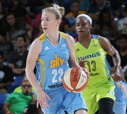 ARLINGTON, TX - MAY 29:  Courtney Vandersloot #22 of the Chicago Sky handles the ball against the Dallas Wings on May 29, 2016 at College Park Center in Arlington, Texas. NOTE TO USER: User expressly acknowledges and agrees that, by downloading and or using this photograph, user is consenting to the terms and conditions of the Getty Images License Agreement. Mandatory Copyright Notice: Copyright 2016 NBAE (Photos by Layne Murdoch/NBAE via Getty Images)