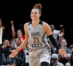 SAN ANTONIO, TX - JUNE 25: Kayla McBride #21 of the San Antonio Stars is seen during the game against the Atlanta Dream on June 25, 2016 at the AT&T Center in San Antonio, Texas. NOTE TO USER: User expressly acknowledges and agrees that, by downloading and or using this photograph, user is consenting to the terms and conditions of the Getty Images License Agreement. Mandatory Copyright Notice: Copyright 2016 NBAE (Photos by Chris Covatta/NBAE via Getty Images)