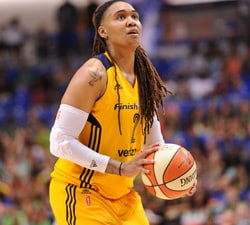ARLINGTON, TX - JUNE 25:  Erlana Larkins #2 of the Indiana Fever prepares to shoot a free throw against the Dallas Wings on June 25, 2016 at College Park Center in Arlington, Texas. NOTE TO USER: User expressly acknowledges and agrees that, by downloading and or using this photograph, user is consenting to the terms and conditions of the Getty Images License Agreement. Mandatory Copyright Notice: Copyright 2016 NBAE (Photos by Sergio Hentschel/NBAE via Getty Images)