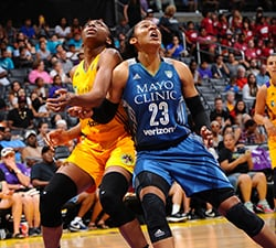 LOS ANGELES, CA - JUNE 21:  Maya Moore #23 of the Minnesota Lynx fights for position against Nneka Ogwumike #30 of the Los Angeles Sparks on June 21, 2016 at STAPLES Center in Los Angeles, California.  NOTE TO USER: User expressly acknowledges and agrees that, by downloading and or using this photograph, User is consenting to the terms and conditions of the Getty Images License Agreement. Mandatory Copyright Notice: Copyright 2016 NBAE  (Photo by Juan Ocampo/NBAE via Getty Images)
