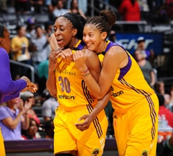 LOS ANGELES, CA - JULY 3:  Nneka Ogwumike #30 of the Los Angeles Sparks celebrates with Candace Parker #3 of the Los Angeles Sparks during the game against the New York Liberty on July 3, 2016 at STAPLES Center in Los Angeles, California.  NOTE TO USER: User expressly acknowledges and agrees that, by downloading and or using this photograph, User is consenting to the terms and conditions of the Getty Images License Agreement. Mandatory Copyright Notice: Copyright 2016 NBAE (Photo by Juan Ocampo/NBAE via Getty Images)