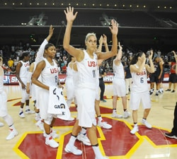 LOS ANGELES, CA - JULY 25: The USA Basketball Womens National Team wave after the game against the USA Basketball Womens Select Team on July 25, 2016 at Galen Center in Los Angeles, California. NOTE TO USER: User expressly acknowledges and agrees that, by downloading and or using this Photograph, user is consenting to the terms and conditions of the Getty Images License Agreement. Mandatory Copyright Notice: Copyright 2016 NBAE (Photo by Juan Ocampo/NBAE via Getty Images)