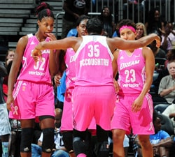 ATLANTA, GA - AUGUST 28:  Angel McCoughtry #35 of the Atlanta Dream huddles with her teammates during the game against the Connecticut Sun on August 28, 2016 at Philips Arena in Atlanta, Georgia.  NOTE TO USER: User expressly acknowledges and agrees that, by downloading and/or using this Photograph, user is consenting to the terms and conditions of the Getty Images License Agreement. Mandatory Copyright Notice: Copyright 2016 NBAE (Photo by Scott Cunningham/NBAE via Getty Images)