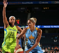 ROSEMONT, IL- JULY 15:  Elena Delle Donne #11 of the Chicago Sky handles the ball against Plenette Pierson #22 of the Dallas Wings on July 15, 2016 at the Allstate Arena in Rosemont, Illinois. NOTE TO USER: User expressly acknowledges and agrees that, by downloading and/or using this photograph, user is consenting to the terms and conditions of the Getty Images License Agreement.  Mandatory Copyright Notice: Copyright 2016 NBAE (Photo by Gary Dineen/NBAE via Getty Images)