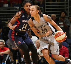 WASHINGTON, DC - AUGUST 28:  Jazmon Gwathmey #24 of the San Antonio Stars dribbles the ball against Tierra Ruffin-Pratt #14 of the Washington Mystics on August 28, 2016 at Verizon Center in Washington, DC. NOTE TO USER: User expressly acknowledges and agrees that, by downloading and or using this Photograph, user is consenting to the terms and conditions of the Getty Images License Agreement. Mandatory Copyright Notice: Copyright 2016 NBAE (Photo by Stephen Gosling/NBAE via Getty Images)
