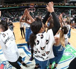 ST. PAUL, MN - SEPTEMBER 28:  The Minnesota Lynx wave to the crowd after the game against the Phoenix Mercury in Game One of the Semifinals during the 2016 WNBA Playoffs on September 28, 2016 at Xcel Energy Center in St. Paul, Minnesota.  NOTE TO USER: User expressly acknowledges and agrees that, by downloading and or using this Photograph, user is consenting to the terms and conditions of the Getty Images License Agreement. Mandatory Copyright Notice: Copyright 2016 NBAE (Photo by David Sherman/NBAE via Getty Images)