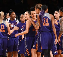 NEW YORK, NY - SEPTEMBER 24:  Diana Taurasi #3 of the Phoenix Mercury celebrates with her teammates during the game against the New York Liberty during Round Two of the 2016 WNBA Playoffs on September 24, 2016 at Madison Square Garden in New York City, New York. NOTE TO USER: User expressly acknowledges and agrees that, by downloading and or using this photograph, User is consenting to the terms and conditions of the Getty Images License Agreement. Mandatory Copyright Notice: Copyright 2016 NBAE (Photo by David Dow/NBAE via Getty Images)