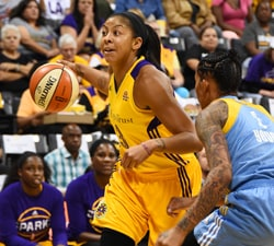 LOS ANGELES, CA - SEPTEMBER 28:  Candace Parker #3 of the Los Angeles Sparks drives to the basket against the Chicago Sky on September 28, 2016 at the Walter Pyramid at Long Beach State in Game One of the Semifinals during the 2016 WNBA Playoffs in Los Angeles, California. NOTE TO USER: User expressly acknowledges and agrees that, by downloading and or using this photograph, user is consenting to the terms and conditions of the Getty Images License Agreement. Mandatory Copyright Notice: Copyright 2016 NBAE (Photos by Andrew D. Bernstein/NBAE via Getty Images)