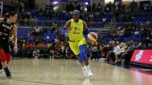 Arike Ogunbowale dribbles up the court