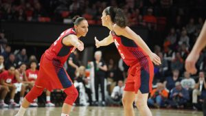 Sue Bird and Diana Taurasi high-five