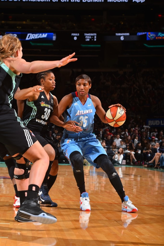 NEW YORK, NY - MAY 24: Angel McCoughtry #35 of the Atlanta Dream handles the ball against the New York Liberty on May 24, 2016 at Madison Square Garden in New York City, New York. NOTE TO USER: User expressly acknowledges and agrees that, by downloading and or using this photograph, User is consenting to the terms and conditions of the Getty Images License Agreement. Mandatory Copyright Notice: Copyright 2016 NBAE (Photo by Jesse D. Garrabrant/NBAE via Getty Images)