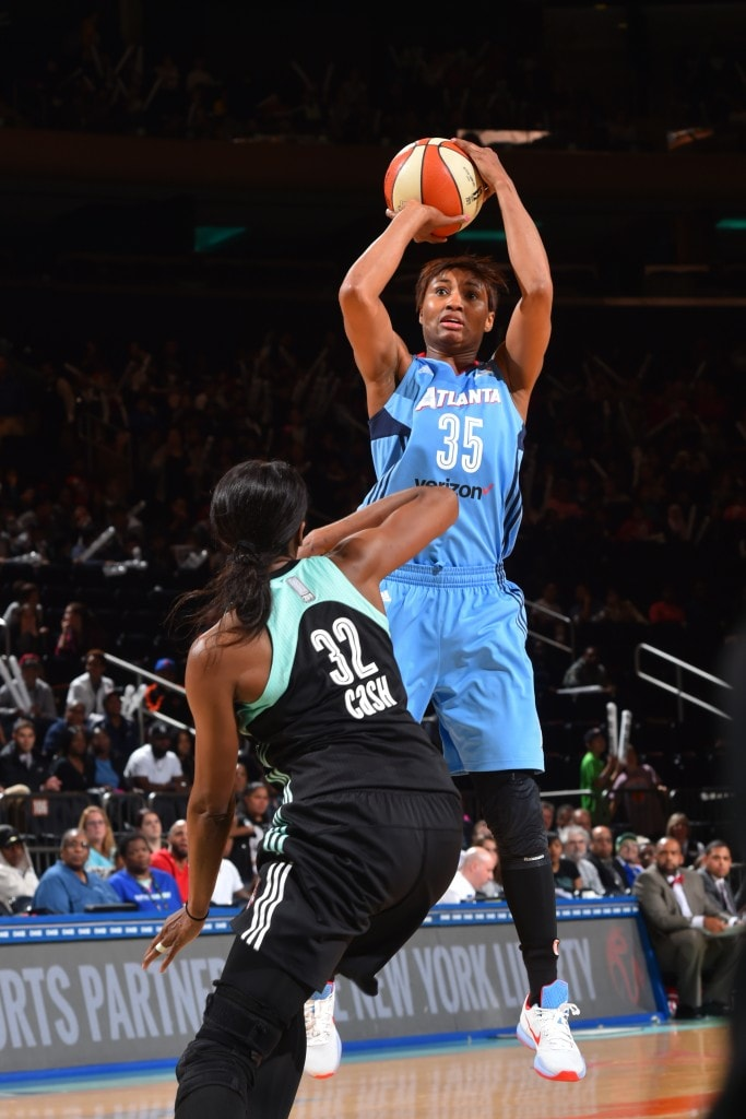 NEW YORK, NY - MAY 24: Angel McCoughtry #35 of the Atlanta Dream shoots the ball against the New York Liberty on May 24, 2016 at Madison Square Garden in New York City, New York. NOTE TO USER: User expressly acknowledges and agrees that, by downloading and or using this photograph, User is consenting to the terms and conditions of the Getty Images License Agreement. Mandatory Copyright Notice: Copyright 2016 NBAE (Photo by Jesse D. Garrabrant/NBAE via Getty Images)