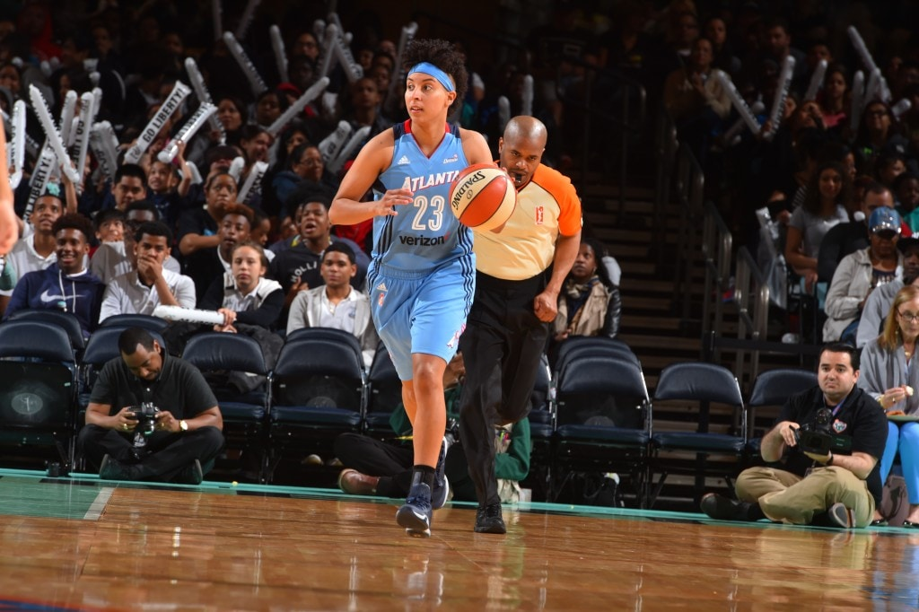 NEW YORK, NY - MAY 24: Layshia Clarendon #23 of the Atlanta Dream handles the ball against the New York Liberty on May 24, 2016 at Madison Square Garden in New York City, New York. NOTE TO USER: User expressly acknowledges and agrees that, by downloading and or using this photograph, User is consenting to the terms and conditions of the Getty Images License Agreement. Mandatory Copyright Notice: Copyright 2016 NBAE (Photo by Jesse D. Garrabrant/NBAE via Getty Images)