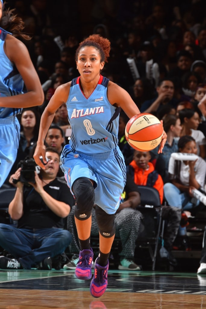 NEW YORK, NY - MAY 24: Carla Cortijo #8 of the Atlanta Dream handles the ball against the New York Liberty on May 24, 2016 at Madison Square Garden in New York City, New York. NOTE TO USER: User expressly acknowledges and agrees that, by downloading and or using this photograph, User is consenting to the terms and conditions of the Getty Images License Agreement. Mandatory Copyright Notice: Copyright 2016 NBAE (Photo by Jesse D. Garrabrant/NBAE via Getty Images)